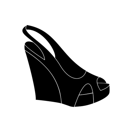 peep toe: Shoes on platform. High platform shoes. Woman shoes. Vector illustration