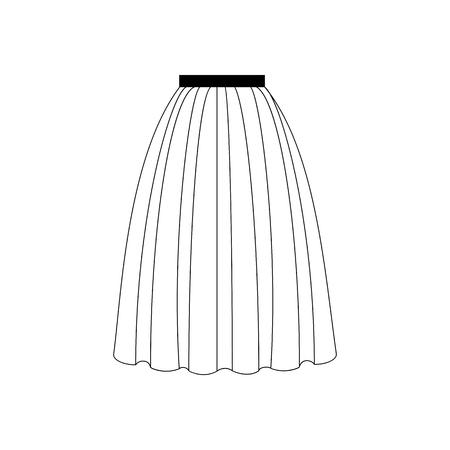 mini skirt: Skirt vector illustration. Long skirt. Accordion skirt. Vector illustration