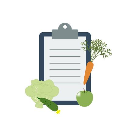 diet plan: Healthy food and Diet planning, diet, food. Vector illustration
