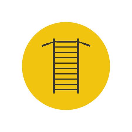 bar tool: Gymnastics wall bars ladder with horizontal bar. Swedish staircase sports gymnastics ladder, gymnastics wall gym tool. Sports ladder trainer wall exercises gymnastics ladder and wall bars vector. Illustration