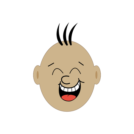child tongue: Laughing face illustration. Emotional face. Vector illustration Illustration
