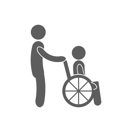 medicine wheel: Disabled Person vector icon. Man on wheelchair. Handicapped person sign