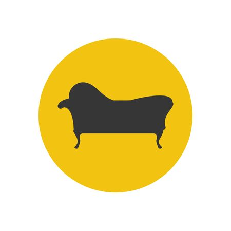 chaise lounge: Chaise lounge armchair seat silhouette on the yellow background. Vector illustration