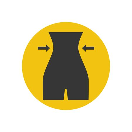 waist weight: Female figure silhouette on the yellow background. Vector illustration
