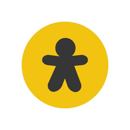 gingerbread person: Gingerbread man silhouette on the yellow background. Vector illustration