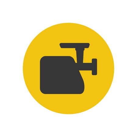 meat grinder: Meat grinder silhouette on the yellow background. Vector illustration Illustration