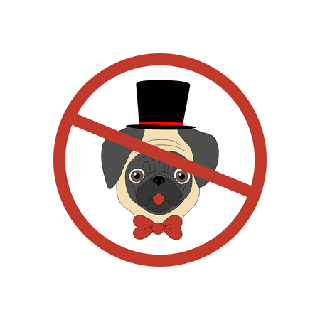 dog allowed: No dog entry icon on the white background. Pug. Vector illustration