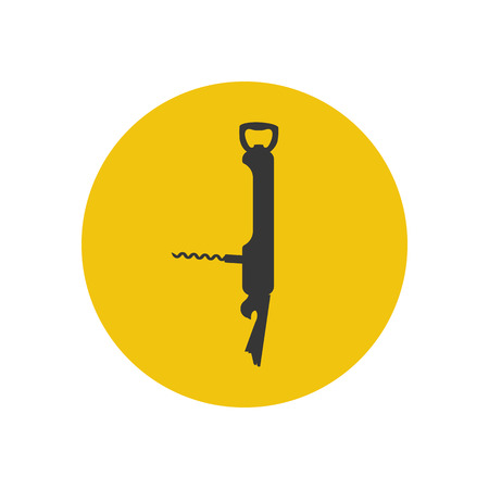 multi: Pocket multi tool silhouette on the yellow background. Vector illustration