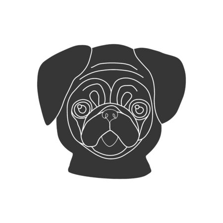 pug dog: Pug dog silhouette on the white background. Vector illustration