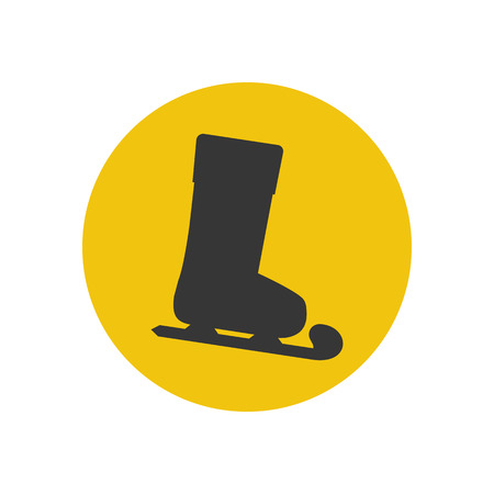 figureskating: Skates silhouette icon on the yellow background. Vector illustration Illustration