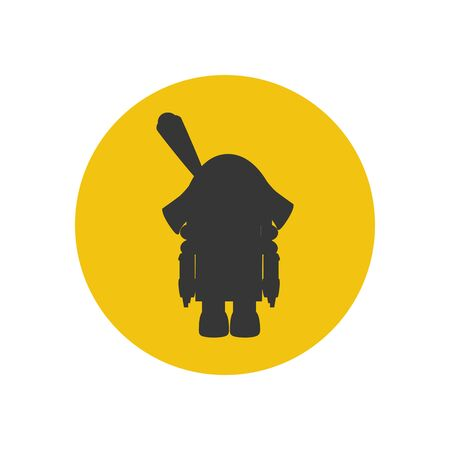 nutcracker: The nutcracker silhouette icon on the yellow background. Vector illustration
