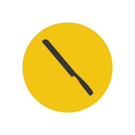bread knife: Bread knife silhouette on the yellow background. Vector illustration