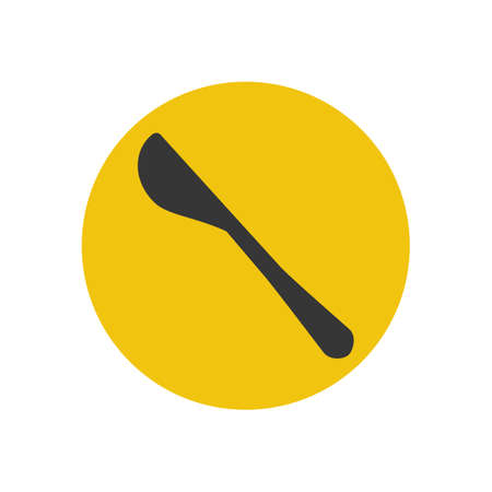 butter knife: Butter knife silhouette on the yellow background. Vector illustration