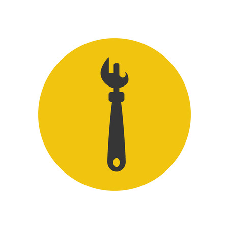 can opener: Can opener silhouette on the yellow background. Vector illustration
