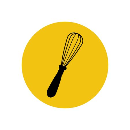 whisk: Handle whisk silhouette on the yellow background. Vector illustration