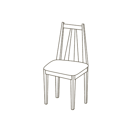 wooden stool: Kitchen chair illustration path on the white background. Vector illustration