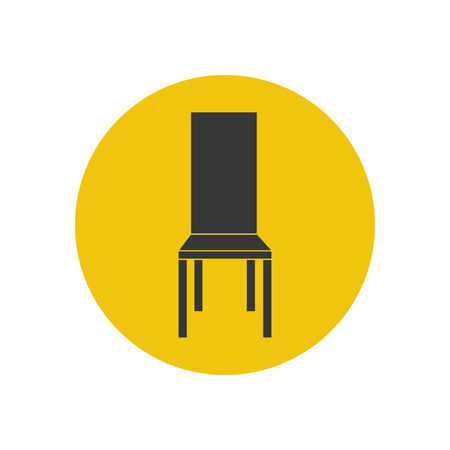 wooden stool: Kitchen chair silhouette on the yellow background. Vector illustration Illustration