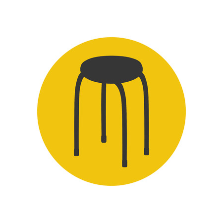 wooden leg: Kitchen chair silhouette on the yellow background. Vector illustration Illustration