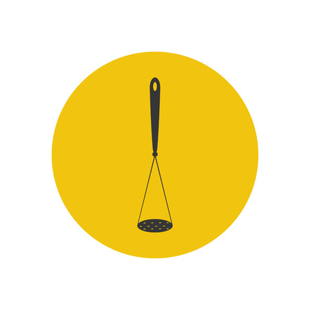 masher: Potato masher silhouette on the yellow background. Vector illustration Illustration