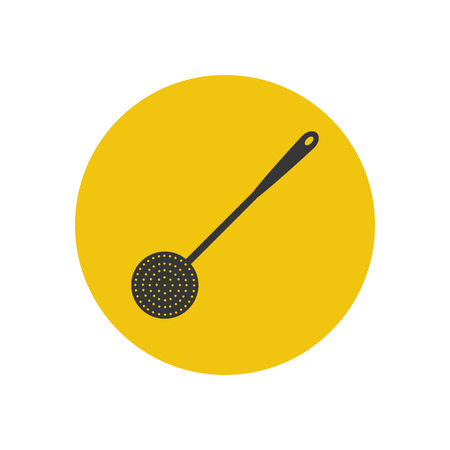 strainer: Strainer spoon silhouette on the yellow background. Vector illustration