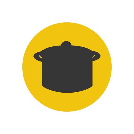 saucepan: Saucepan silhouette on the yellow background. Vector illustration