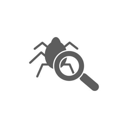 debug: Virus scan icon on the white background. Vector illustration Illustration