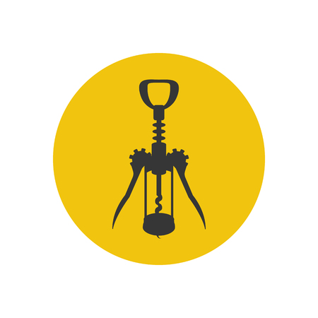 Wine corkscrew silhouette on the yellow background. Vector illustration