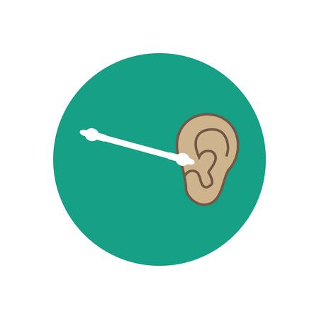 swab: Children ear care. Ear hygiene. Ear illustration. Cotton bud for children. Vector illustration