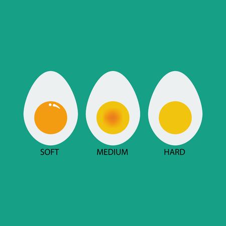 medium: Egg cooking degree. Soft egg. Medium egg. Hard egg. Boiled eggs. Vector illustration Illustration
