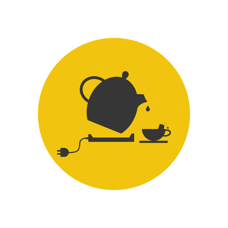 electric tea kettle: Electric kettle and tea cup silhouette. Vector illustration