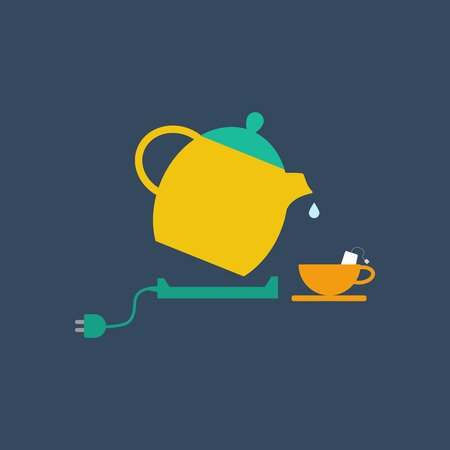 electric tea kettle: Electric kettle and tea cup illustration. Vector illustration