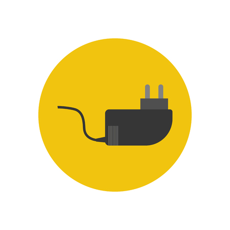 power cable: Power cable icon on the yellow background. Vector illustration