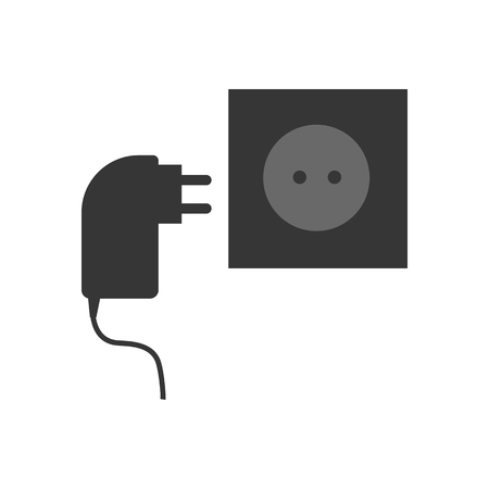 socket adapters: Power cable and power socket on the white background. Vector illustration