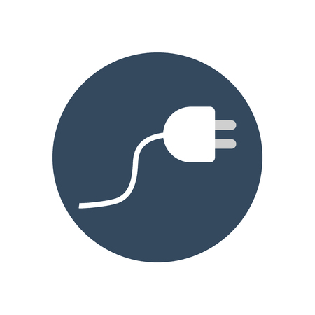 power cable: Power cable icon on the blue background. Vector illustration