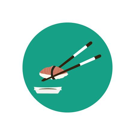 chopsticks: Chopsticks holding sushi with salmon. illustration