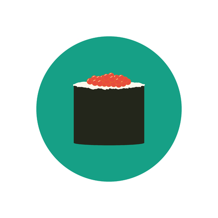 japanese cuisine: Sushi roll with caviar. Japanese cuisine. illustration