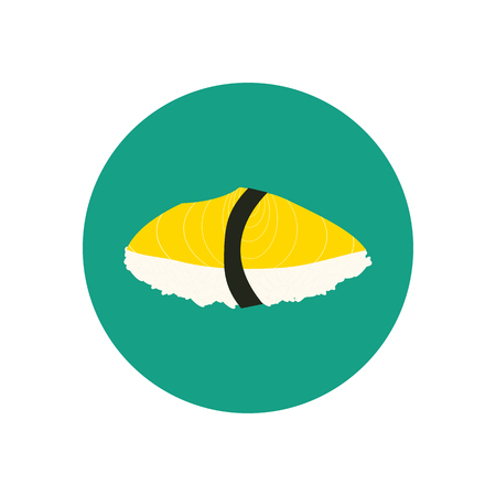 oily: Sushi with oily fish. Japanese cuisine. illustration