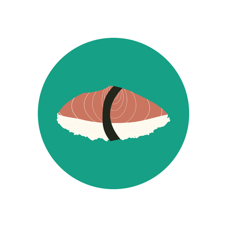 japanese cuisine: Sushi with salmon. Japanese cuisine. illustration