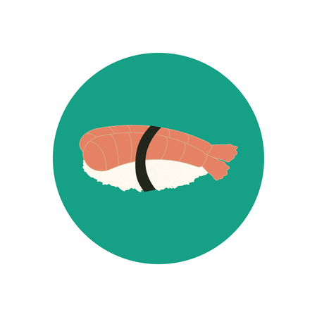 japanese cuisine: Sushi with shrimp. Japanese cuisine. illustration Illustration