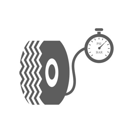 car tire: Car tire and compressor on the white background. illustration