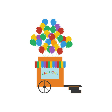 window display: Balloons shop illustration on the white background. Vector illustration