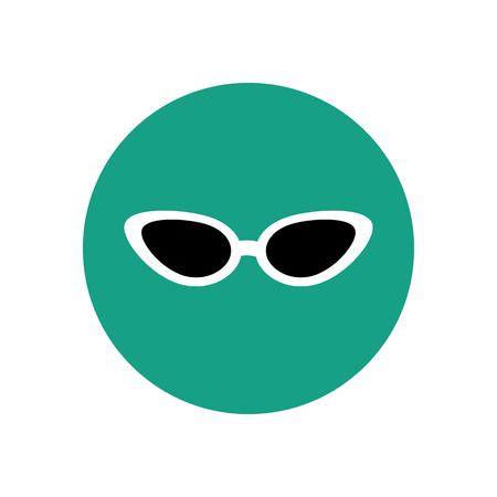 cat's eye glasses: Cat eye sunglasses illustration on the green background. Vector illustration
