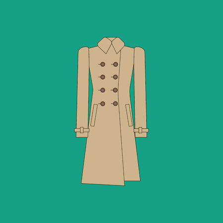 the trench: Coat trench illustration on the green background. Vector illustration Illustration