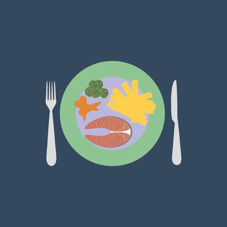 potato salad: Dinner vector illustration on the blue background. Vector illustration
