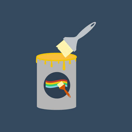 paint can: Paint can and brush illustration on the blue background. Vector illustration Illustration