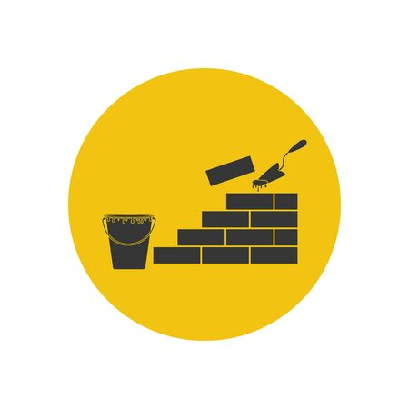 Brickwork illustration silhouette on the yellow background. Vector illustration