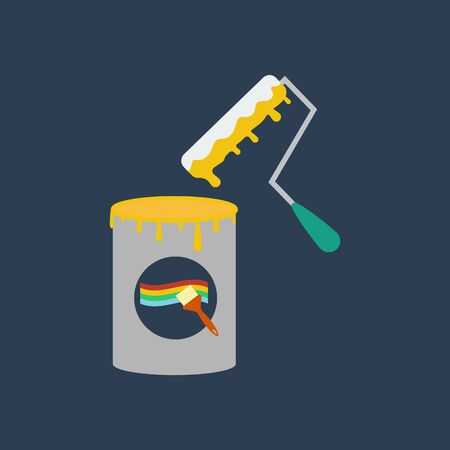 paint can: Paint can illustration on the blue background. Vector illustration