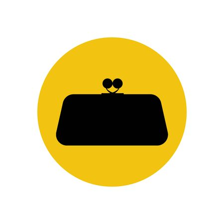 clutch: Clutch bag illustration on the yellow illustration. Vector illustration