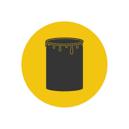 paint can: Paint can illustration on the yellow background. Vector illustration