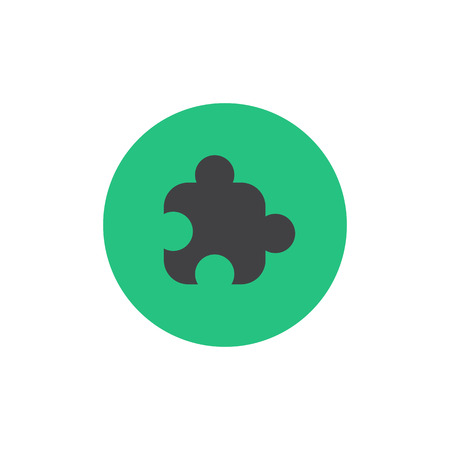 assemble: Puzzle piece icon vector on the green background. Vector illustration Illustration